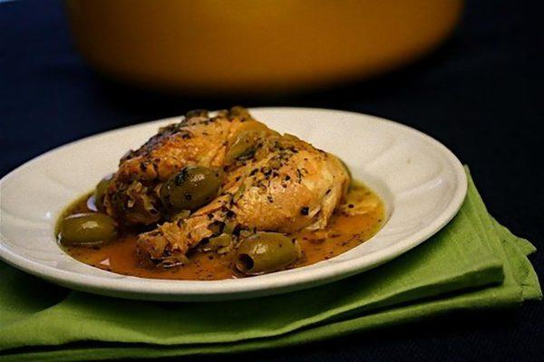 Receta de pollo con aceitunas