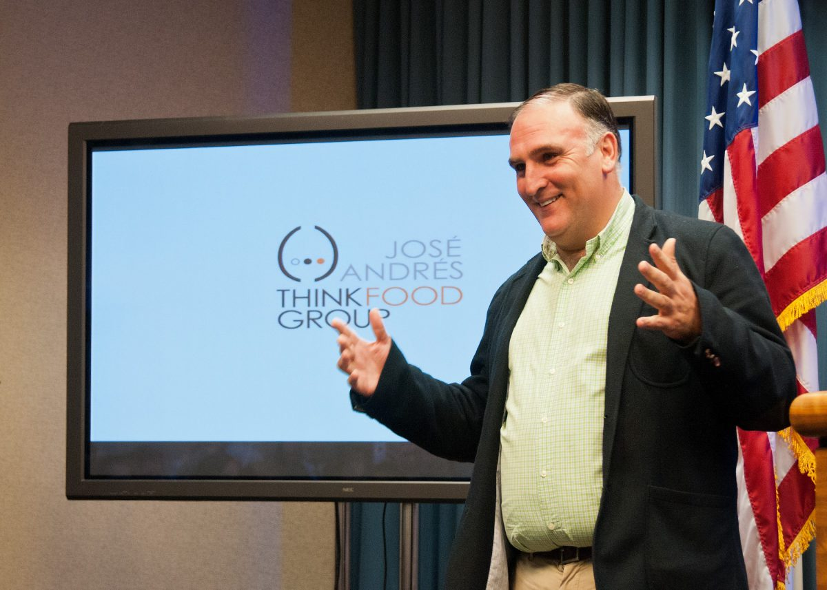 Chef Jose Andres speaks at the White House Liason Weekly Political Appointees Meeting