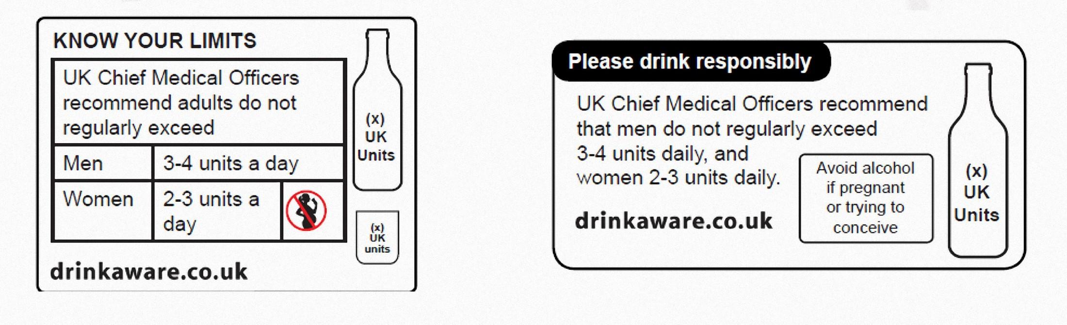 Etiquetas nuevas para el alcohol en Reino Unido