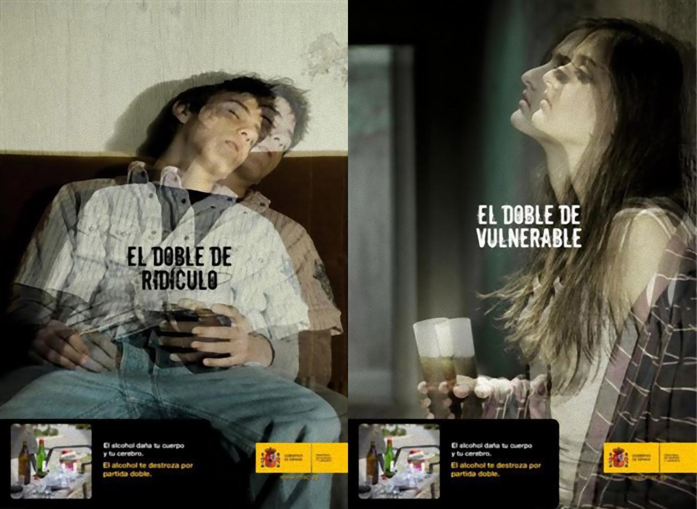 Campañas 2007- Alcohol y menores. El alcohol te destroza por partida doble