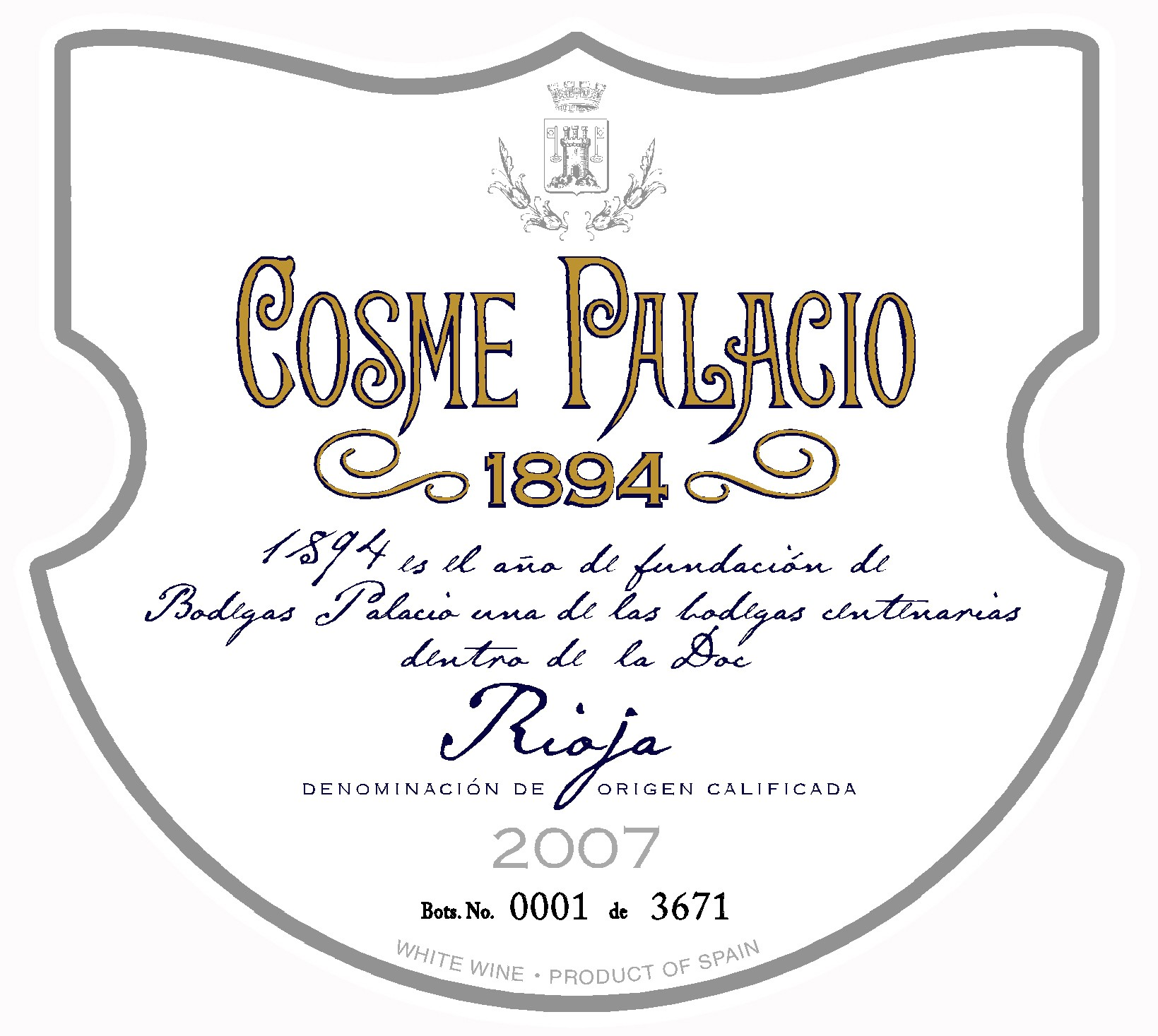 Cosme Palacio etiqueta