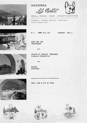 Carta Restaurante elBulli