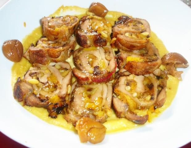 Receta de solomillo relleno de frutos secos y castañas en almíbar