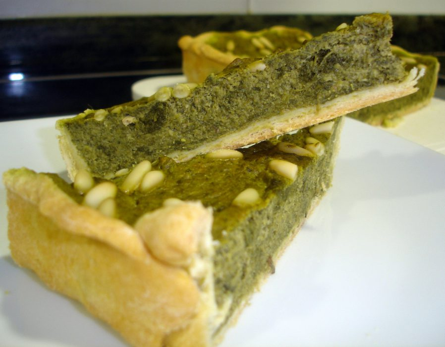 Receta de Quiche de espinacas y piñones