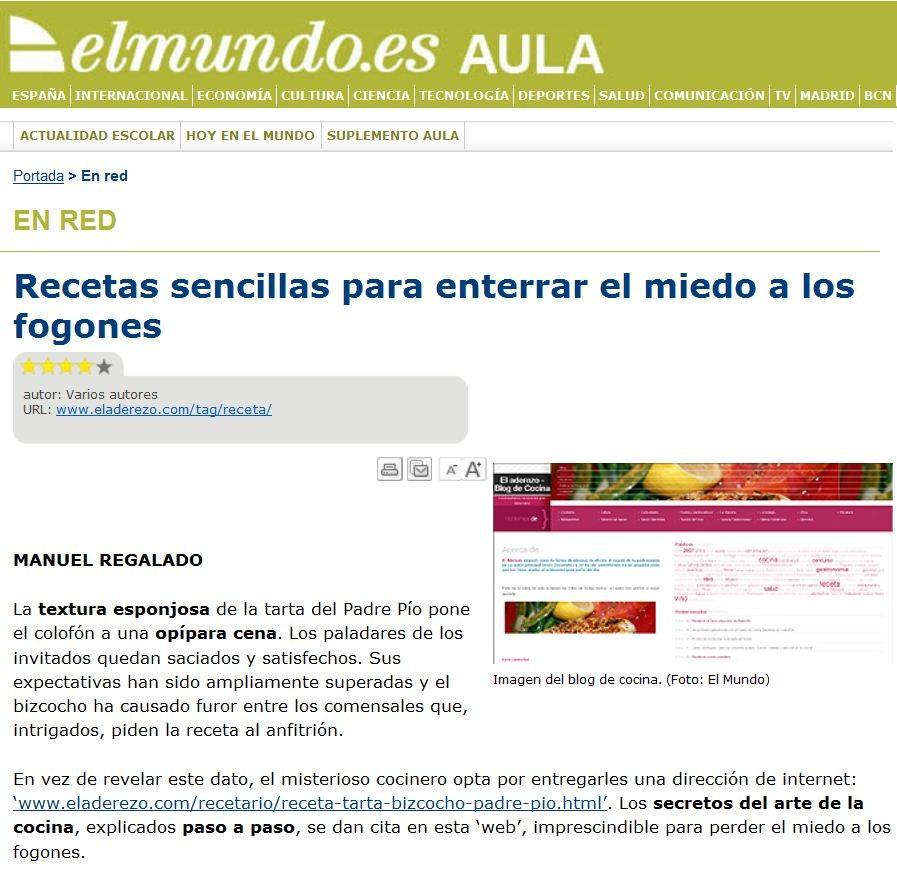 Captura de pantalla de el periodico elmundo.es sobre eladerezo.com