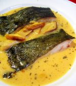 Receta de Rodaballo al horno con salsa de sidra y boletus