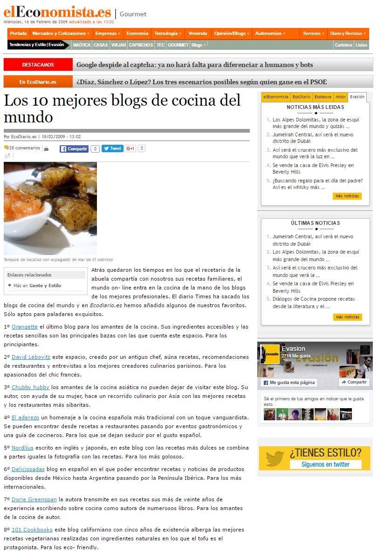 Los 10 mejores blogs de cocina del mundo