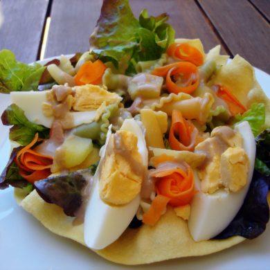 Ensalada de pasta en pappadums