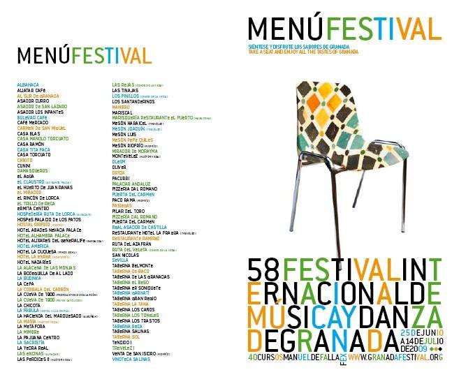 Menú Festival Internacional de Música y Danza de Granada