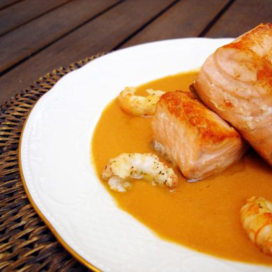 Receta de salmon en crema de cigalas