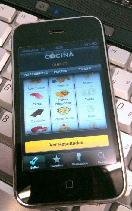 Canal Cocina en el iPhone 3