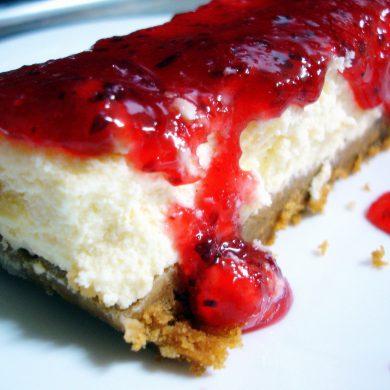 Receta de tarta de queso philadelphia y mermelada de ciruelas rojas y mango