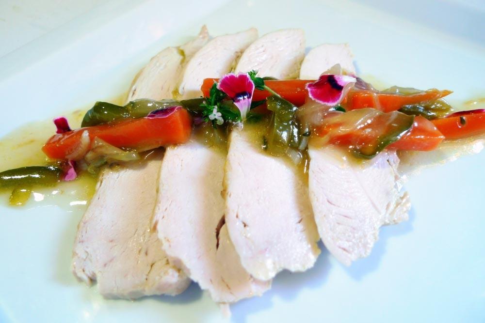 Receta de Pechuga de pollo en escabeche de manzanilla