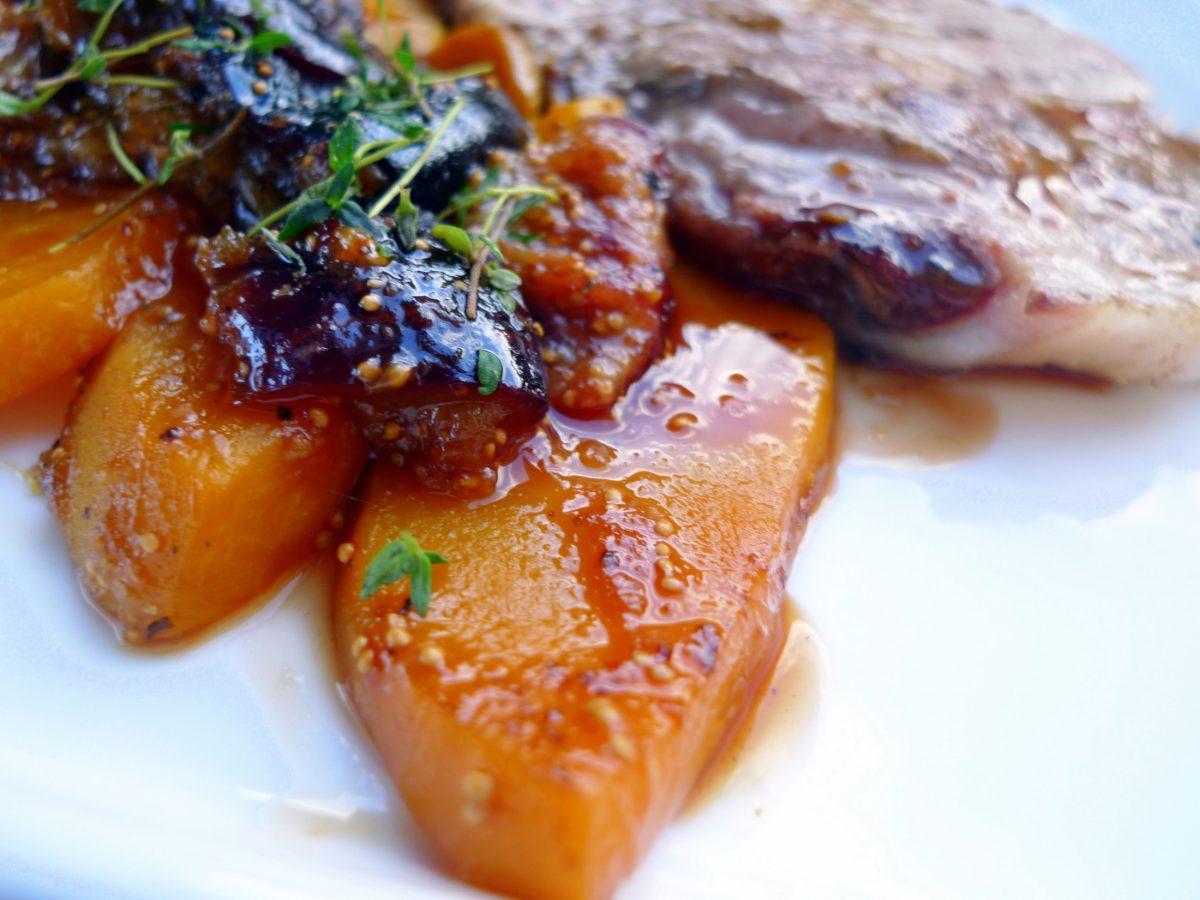 Lomo de cerdo con melocotones e higos - Salsa para ternera a la plancha ...