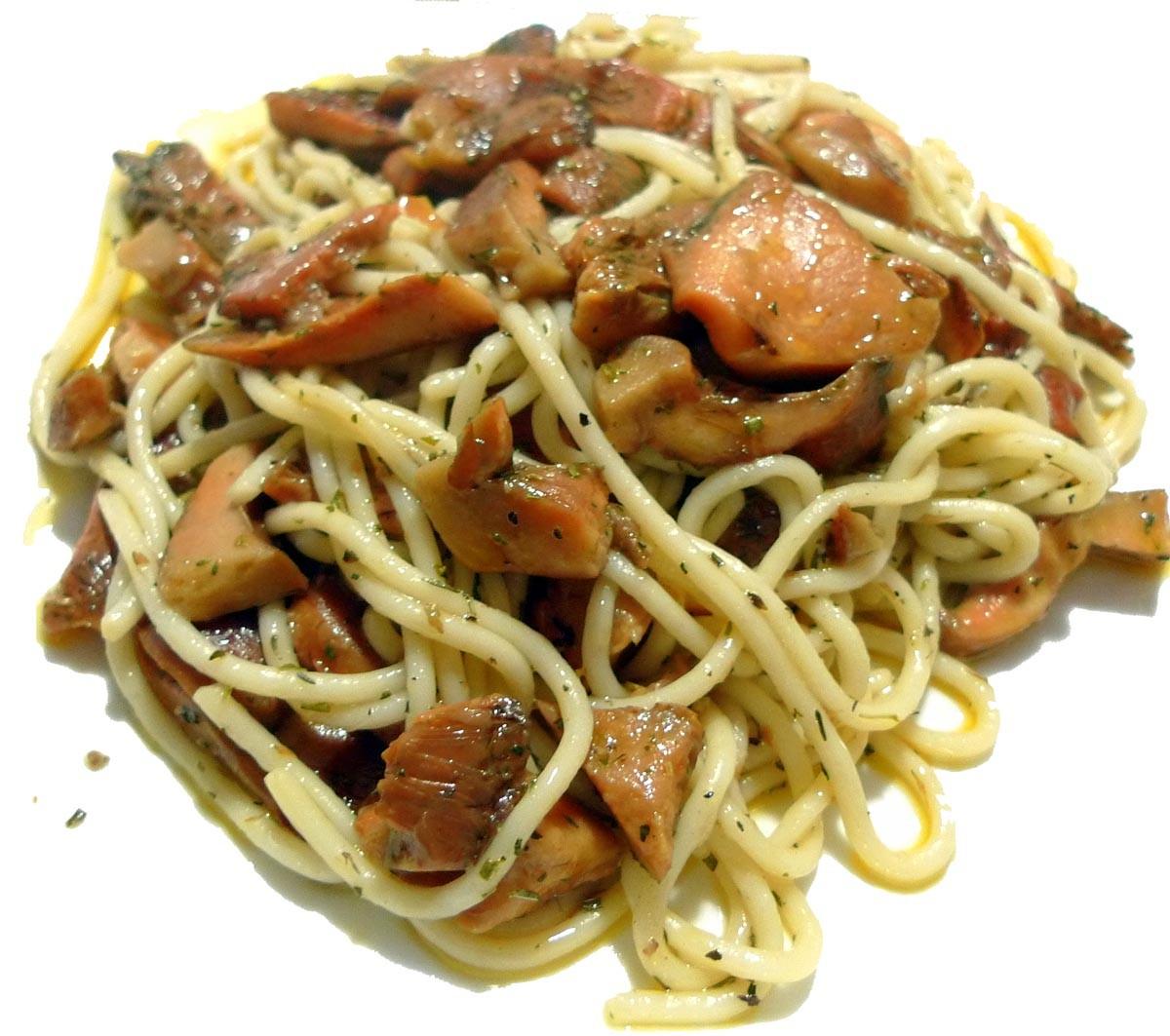 Receta de Espaguetis con níscalos