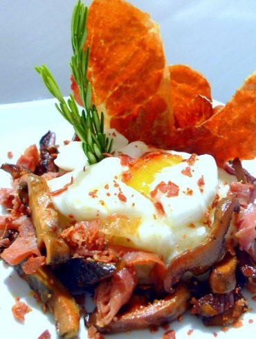 Receta Revuelto de setas, huevo y jamón navidul