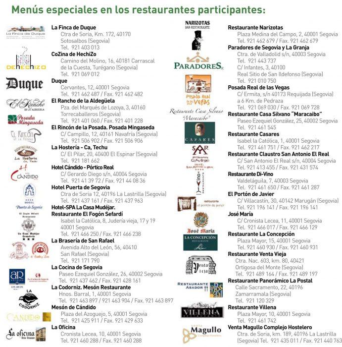 Establecimientos Participantes XIX Semana de Cocina Segoviana