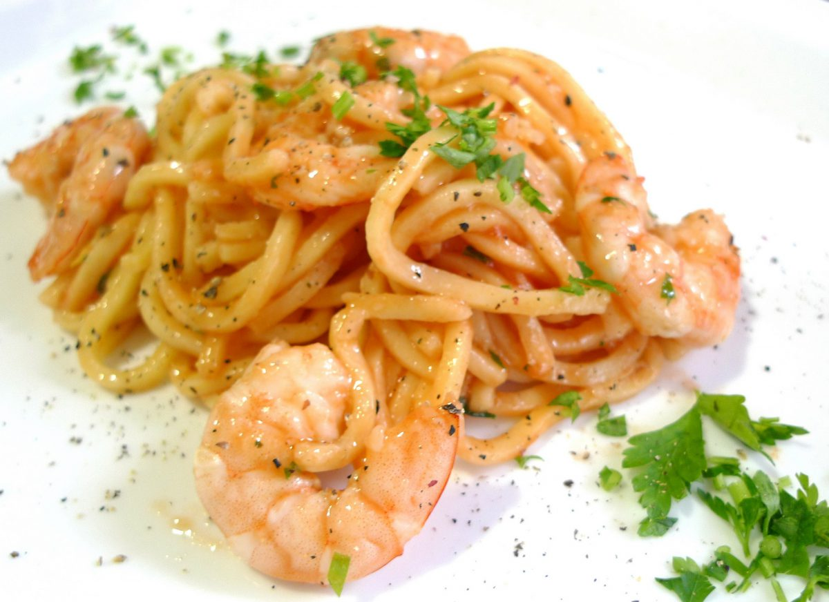 Espaguetis con langostinos 2