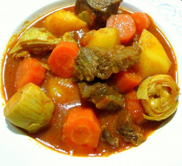 Receta de estofado de ternera con verduras