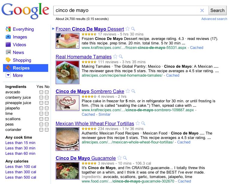 búsqueda de recetas de cocina en Google España