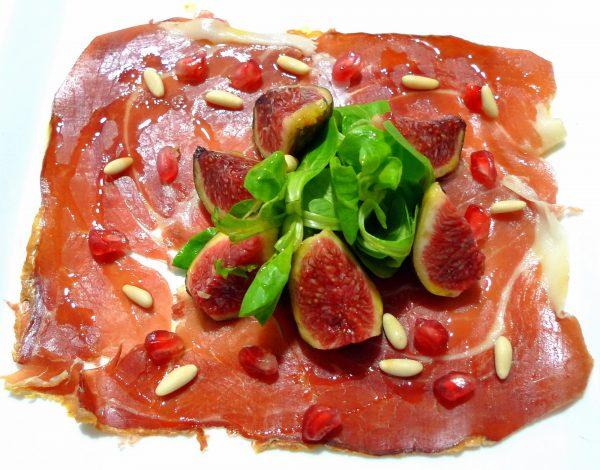 Carpaccio de jamón ibérico Navidul con ensalada de canónigos