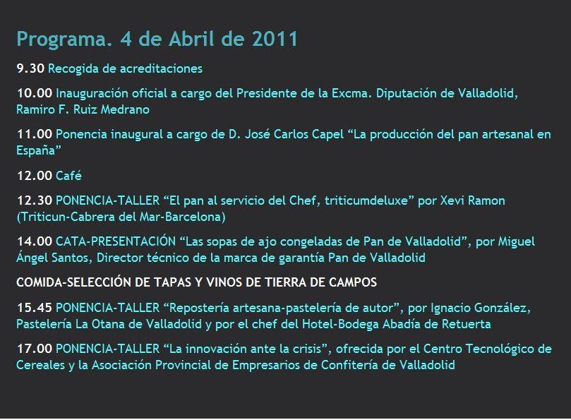 Programa IV Congreso Gastronomico Provincial de Valladolid