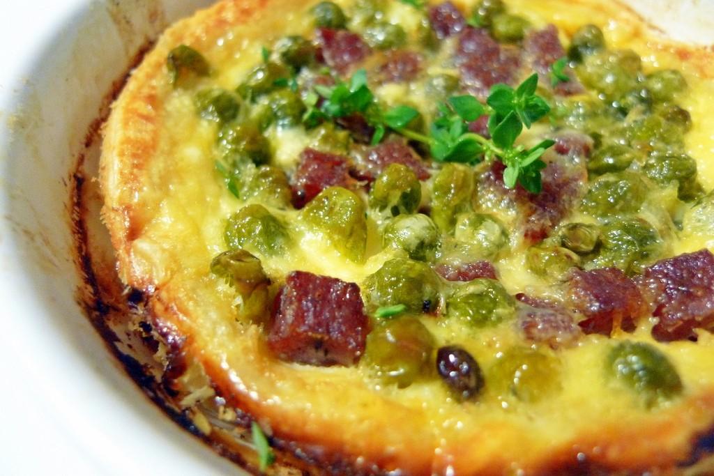 quiche de guisantes y salami al tartufo 2