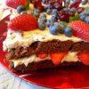 Tarta de chocolate con queso, castañas y frutos rojos 2