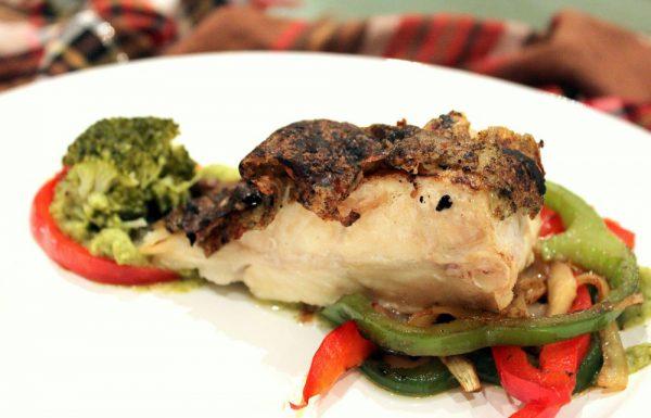 Rodaballo con verduras a la plancha y puré de brócoli