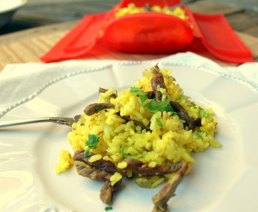 arroz con ternera en estuche de vapor de Lekue-2