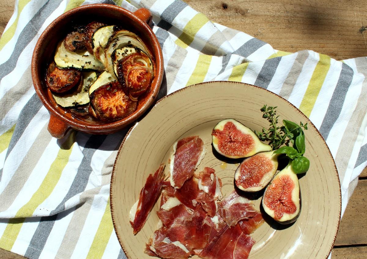 Verduras al horno con jamón y brevas 2