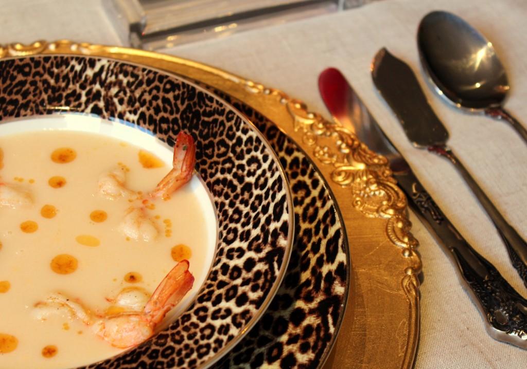 Crema de langostinos y pescado
