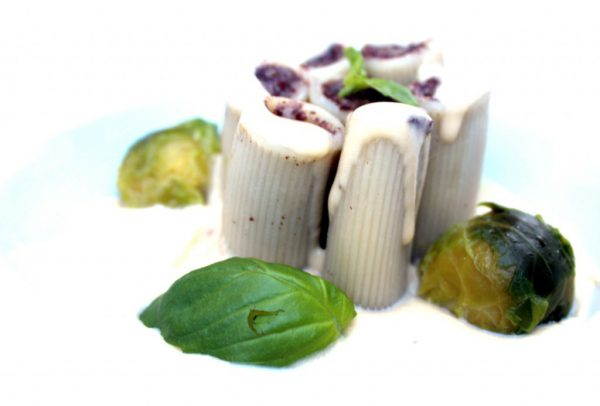 Pasta rellena con morcilla de Burgos