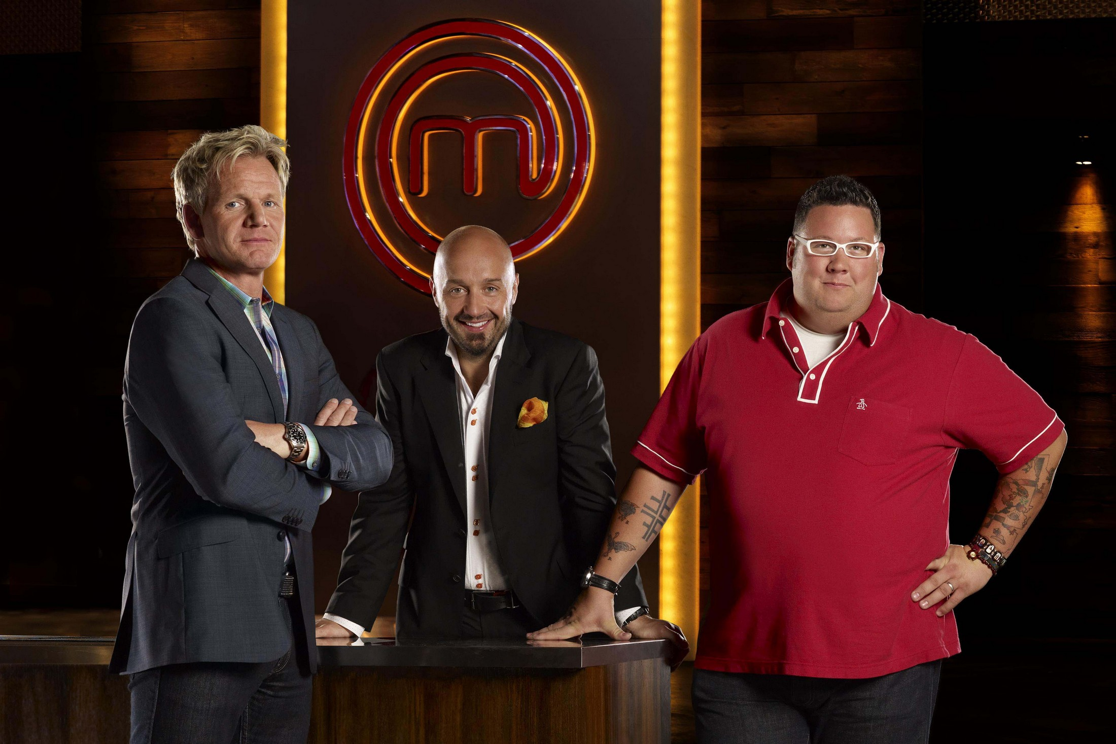 MASTERCHEF: Chef Gordon Ramsay (L), Restraunteur Joe Bastianich (C) and Chef Graham Elliot (R) star in the new FOX cooking competition show MASTERCHEF premiering Tuesday, July 27 (9:00-10:00 PM ET/PT) on FOX. ©2010 Fox Broadcasting Co. CR: Florian Schneider/FOX