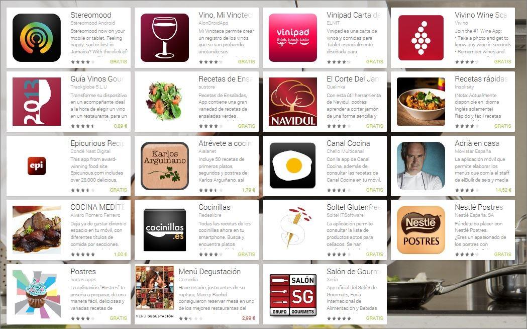 Menú del Gourmet 3.0 en Google Play