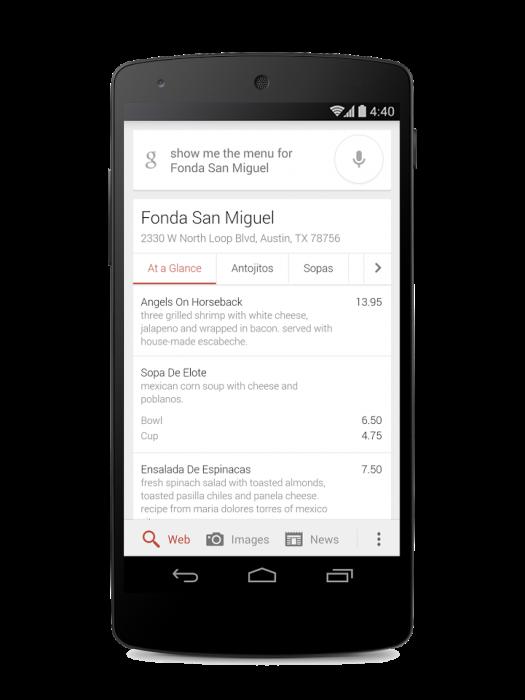 Google Menu restaurant search