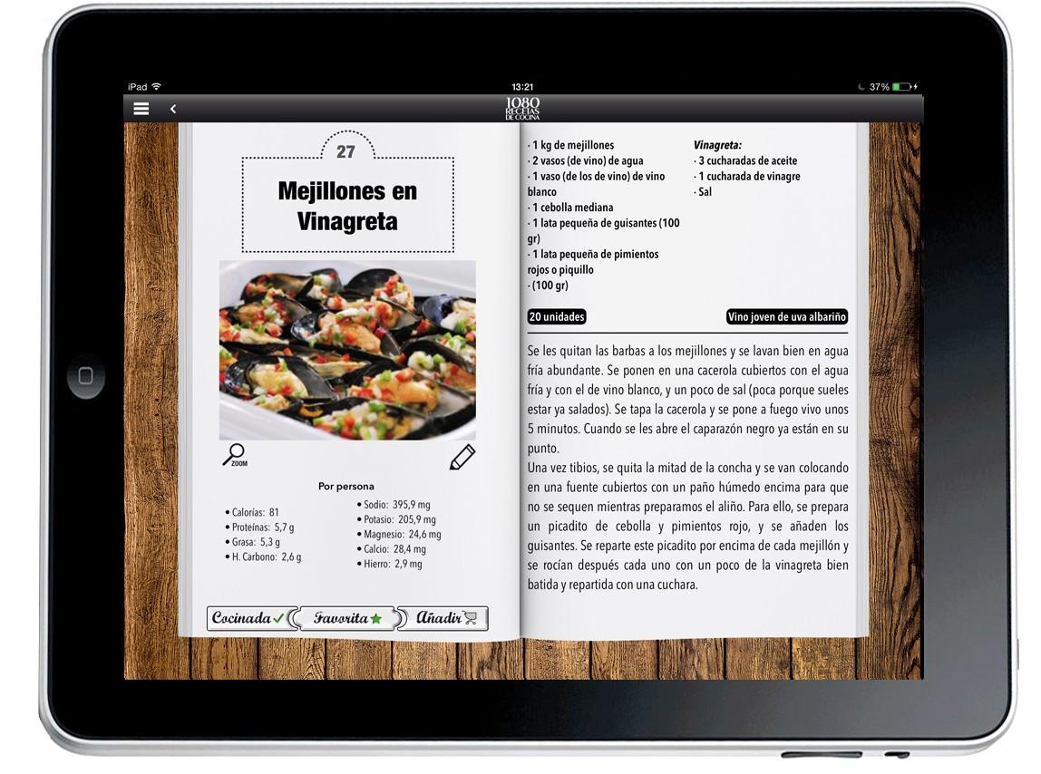 1080 recetas de cocina - aplicación