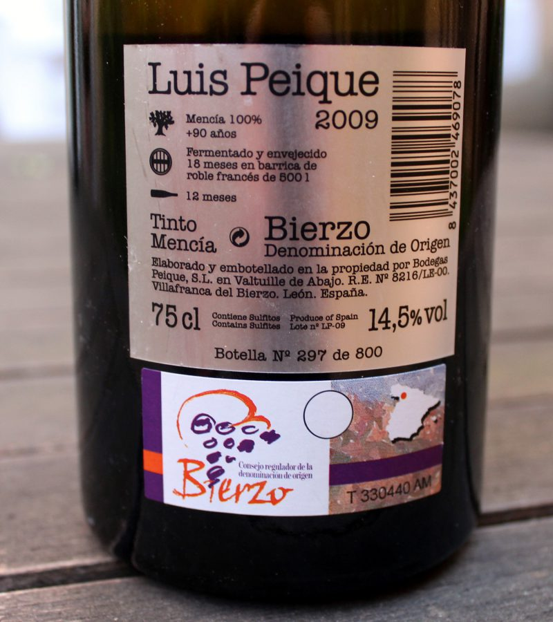 Vino Bierzo Luis Peique