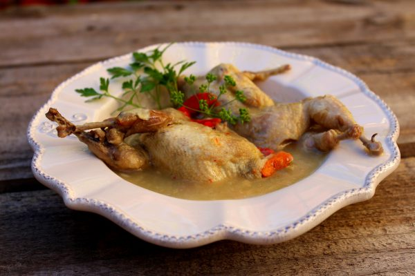 Codornices estofadas, receta de caza