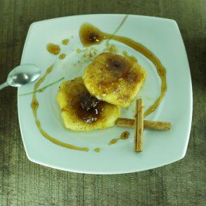 Leche Frita al Pedro Ximenez con pasas