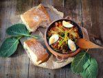 garbanzos con verdura y panceta