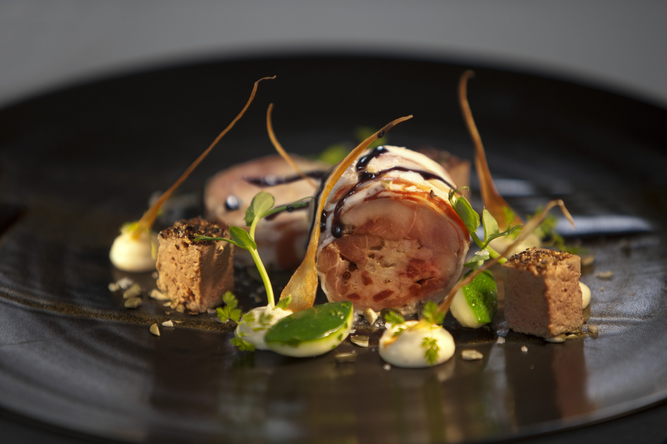 'Parma Wrapped Slow Cooked Rabbit, Palm Sugar Szechuan Rabbit Liver Brulee, Pumpkin Seed Gremolata'