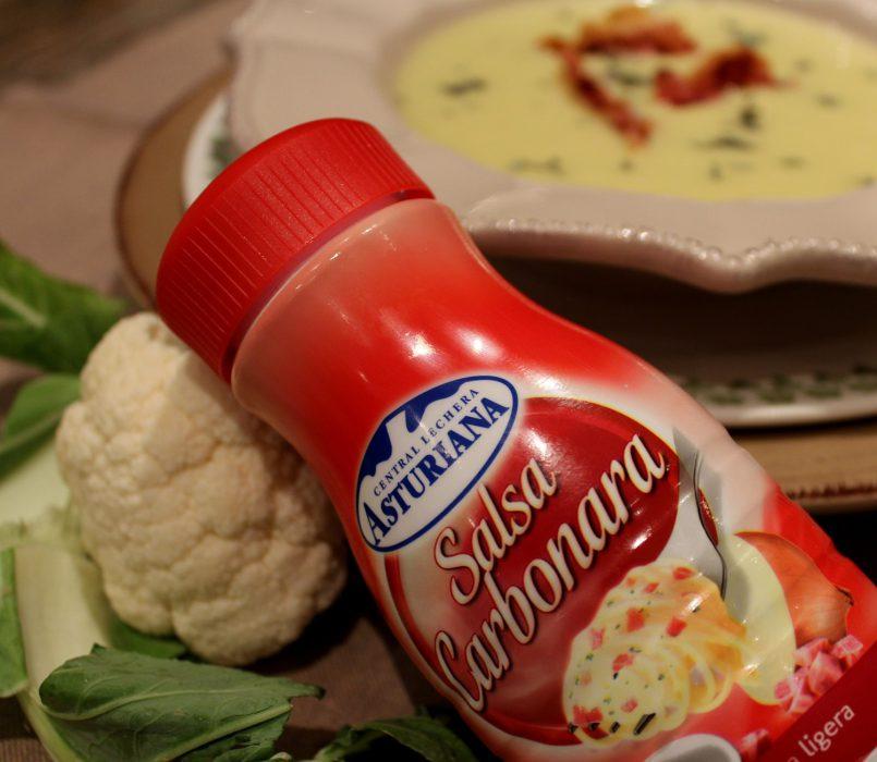 crema de coliflor con salsa carbonara y beicon