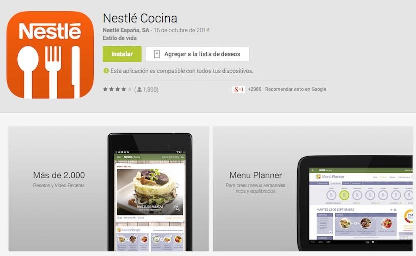 Nestlé Cocina, app con miles de recetas gratuitas