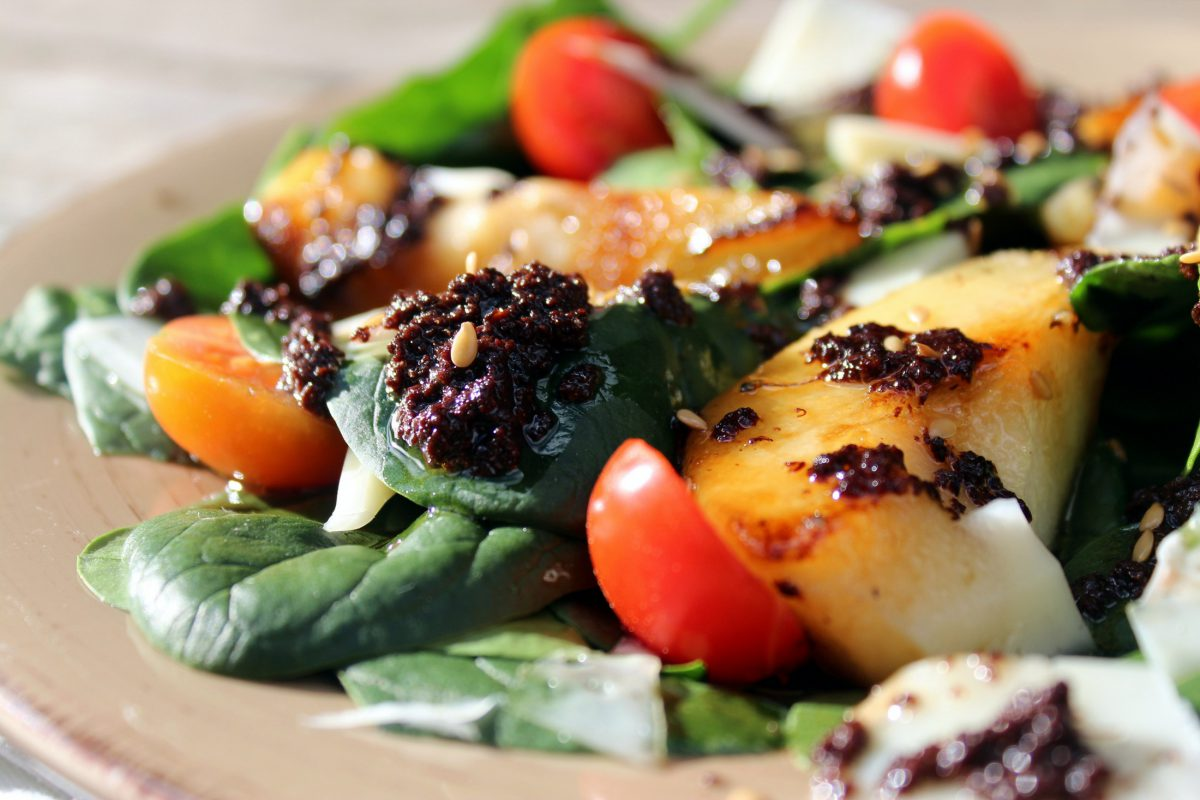 Ensalada de espinacas con pera