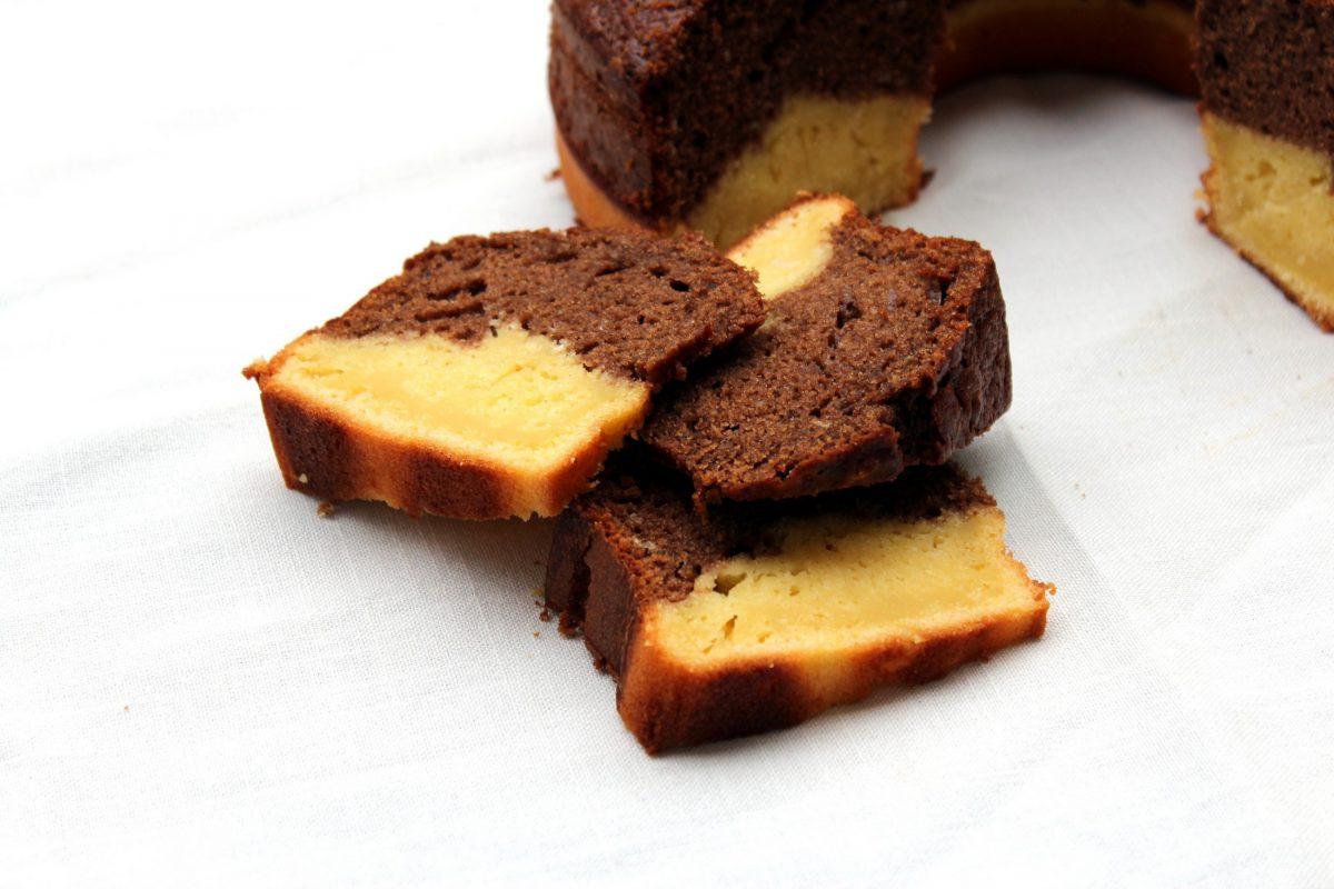 Bizcocho de chocolate bicolor