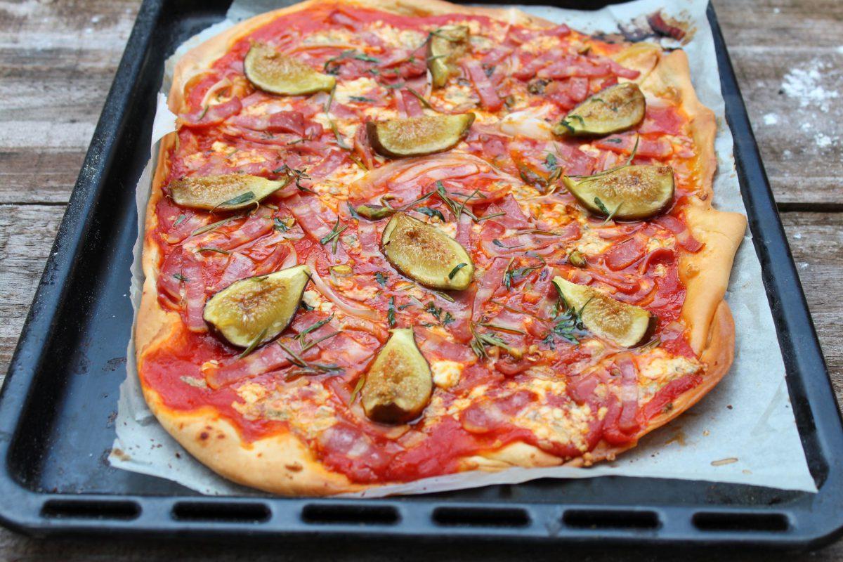 Pizza de bacon de pavo