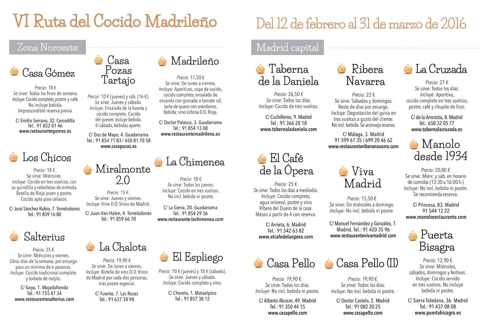 VI Ruta del Cocido Madrileño
