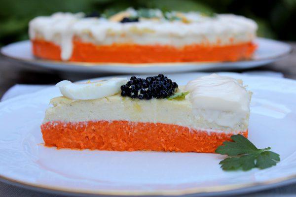 Pastel frío de pimientos del piquillo y brandada de bacalao, receta en Thermomix