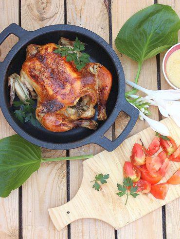 Pollo asado con puré de cebolla 6
